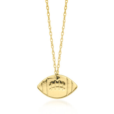 14kt Yellow Gold Tiny Football Pendant Necklace