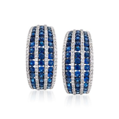 2.75 ct. t.w. Sapphire and .95 ct. t.w. Diamond Hoop Earrings in 18kt White Gold, , default