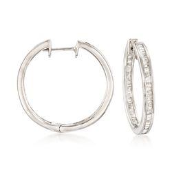 1.05 ct. t.w. Baguette Diamond Inside-Outside Hoop Earrings in Sterling Silver, , default