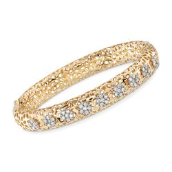 "1.40 ct. t.w. Diamond Cluster Floral Bangle Bracelet in 18kt Yellow Gold. 7"", , default"