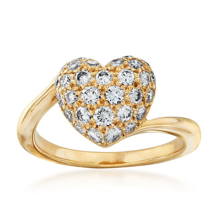 C. 1980 Vintage Cartier .50 ct. t.w. Pave Diamond Heart Ring in 18kt Yellow Gold. Size 4.5, , default