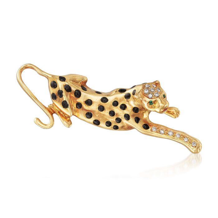 C. 2000 Vintage Enamel Panther Pin with .20 ct. t.w. Diamonds in 18kt Yellow Gold, , default