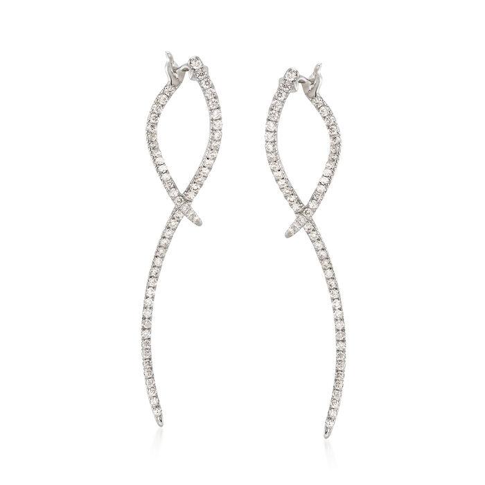 Gabriel Designs .47 ct. t.w. Diamond Double-Wave Drop Earrings in 14kt White Gold