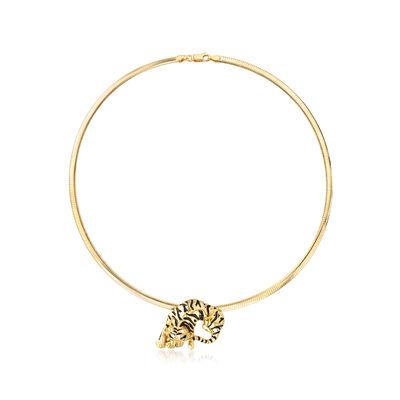 Italian Black Enamel Tiger Pendant Omega Necklace in 18kt Gold Over Sterling
