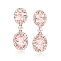 5.40 ct. t.w. Morganite and 1.17 ct. t.w. Diamond Drop Earrings in 14kt Rose Gold , , default