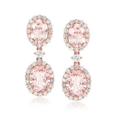 5.40 ct. t.w. Morganite and 1.17 ct. t.w. Diamond Drop Earrings in 14kt Rose Gold, , default