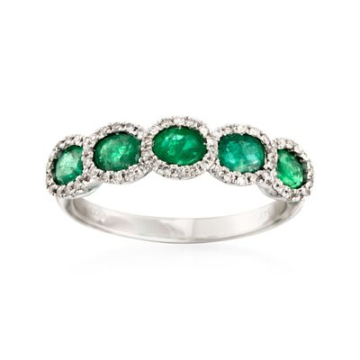 1.10 ct. t.w. Emerald Five-Stone Ring with .20 ct. t.w. Diamonds in 14kt White Gold