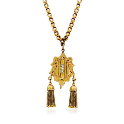 C. 1940 Vintage Tassel Pendant Necklace in 10kt Yellow Gold, , default