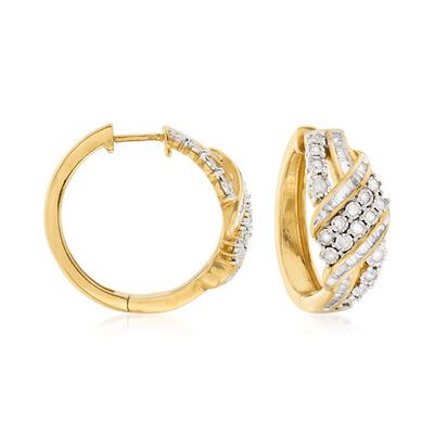 1.00 ct. t.w. Baguette and Round Diamond Ribbon Hoop Earrings in 18kt Gold Over Sterling, , default