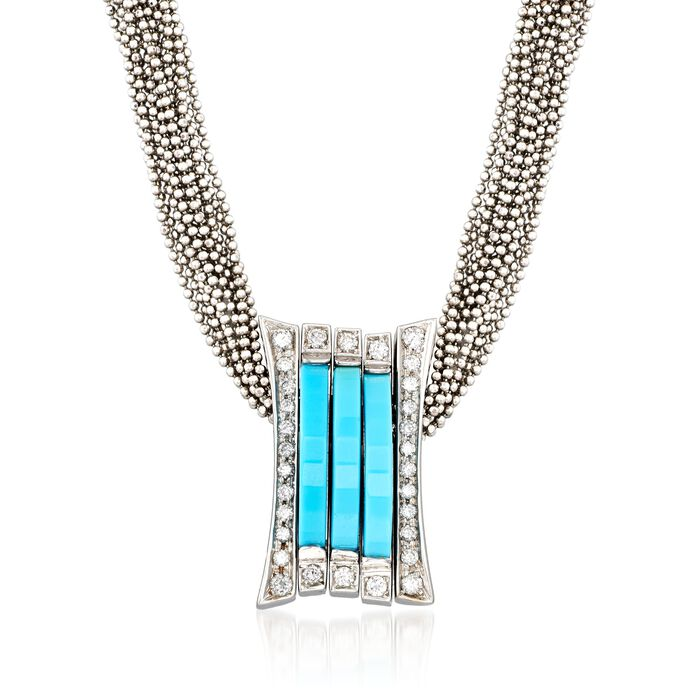 C. 1990 Vintage Turquoise and .70 ct. t.w. Diamond Slide Pendant Necklace in 18kt White Gold