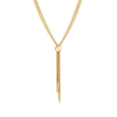 Italian 18kt Yellow Gold Over Sterling Silver Beaded Tassel Necklace, , default
