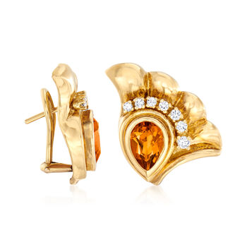 C. 1980 Vintage 1.50 ct. t.w. Citrine and .50 ct. t.w. Diamond Fan Earrings in 18kt Yellow Gold