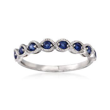 .40 ct. t.w. Sapphire Milgrain Twist Ring in 14kt White Gold, , default