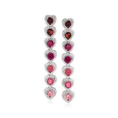 1.00 ct. t.w. Pink Tourmaline, 1.00 ct. t.w. Rhodolite Garnet and .90 ct. t.w. Garnet Drop Earrings in Sterling Silver