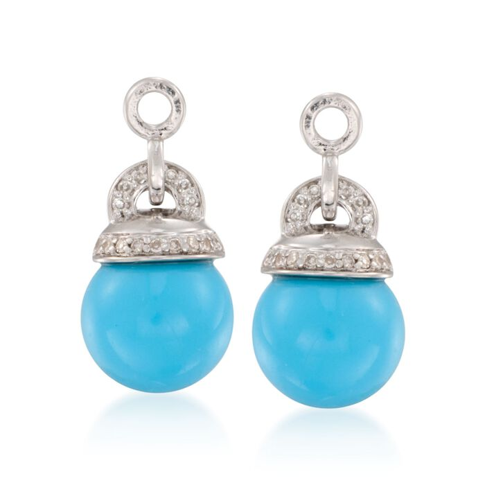 Turquoise and .10 ct. t.w. Diamond Drop Earring Jackets in Sterling Silver