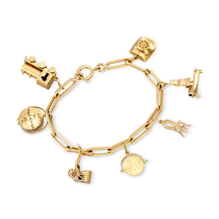 "C. 1980 Vintage 18kt Yellow Gold Multi-Charm Link Bracelet. 7"""
