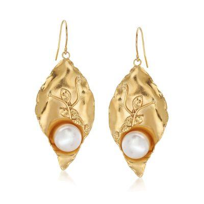 11-12mm Cultured Pearl Leaf Drop Earrings in 18kt Gold Over Sterling , , default