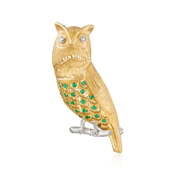 C. 1960 Vintage .60 ct. t.w. Emerald Owl Pin with Diamond Accents in 18kt Two-Tone Gold