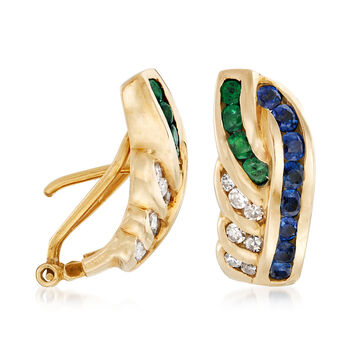 C. 1980 Vintage 1.25 ct. t.w. Sapphire and .50 ct. t.w. Emerald Earrings with Diamonds in 14kt Yellow Gold