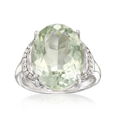 7.50 Carat Green Prasiolite Ring in Sterling Silver
