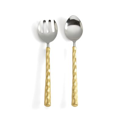 "Michael Wainwright ""Truro"" 18/10 Stainless Steel Salad Servers with 24kt Gold, , default"
