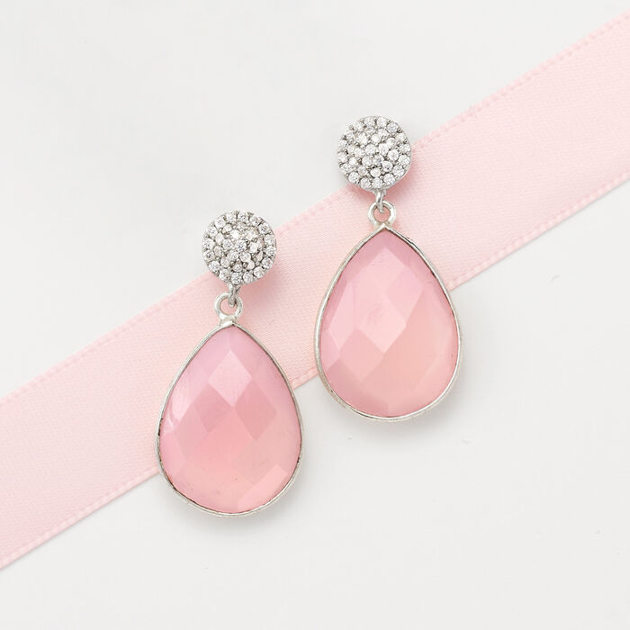 Rose Quartz and .33 ct. t.w. CZ Drop Earrings in Sterling Silver