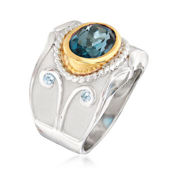 3.40 Carat London Blue Topaz and .10 ct. t.w. Aquamarine Ring in Two-Tone Sterling Silver, , default