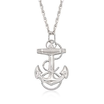 "Men's Sterling Silver Anchor Pendant Necklace. 22"", , default"