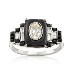 C. 1950 Vintage .92 ct. t.w. Diamond and Black Enamel Ring in 18kt White Gold, , default