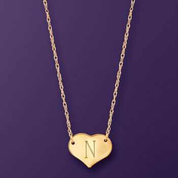 "14kt Yellow Gold Single Initial Heart Necklace. 16"", , default"