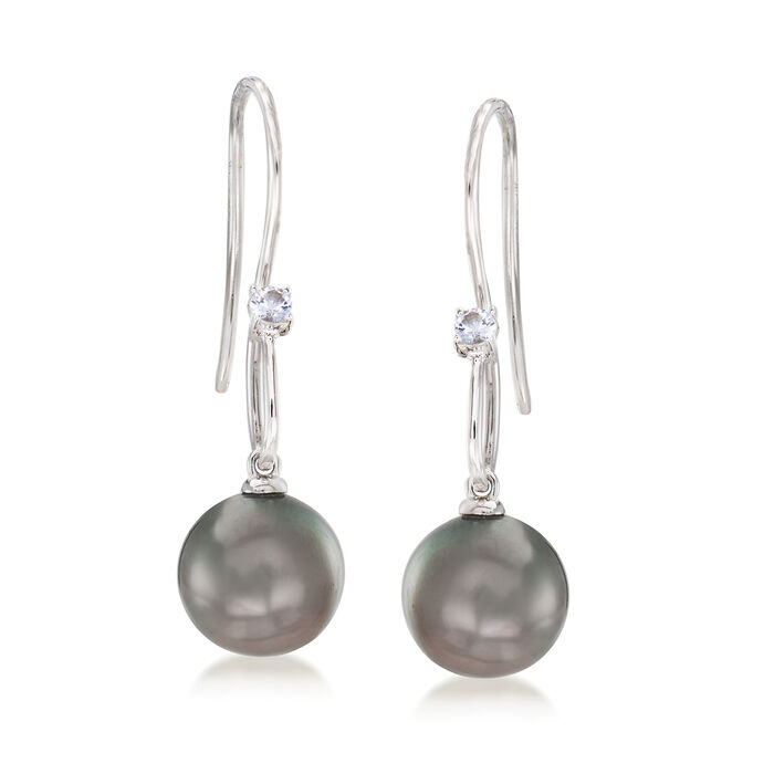 10-11mm Black Cultured Tahitian Pearl and .10 ct. t.w. Sapphire Drop Earrings in Sterling Silver