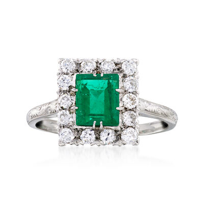 C. 1990 Vintage .70 Carat Emerald and .35 ct. t.w. Diamond Ring in Platinum, , default
