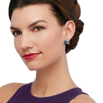 "Belle Etoile ""Strata"" Blue and Purple Enamel and .11 ct. t.w. CZ Hoop Earrings in Sterling Silver. 1/2"", , default"