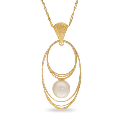 8.5-9mm Cultured Pearl Pendant Necklace in 14kt Yellow Gold