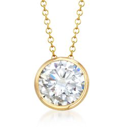 2.00 Carat Bezel-Set CZ Solitaire Necklace in 14kt Yellow Gold, , default