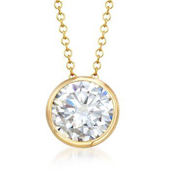 2.00 Carat Bezel-Set CZ Solitaire Necklace in 14kt Yellow Gold, , default