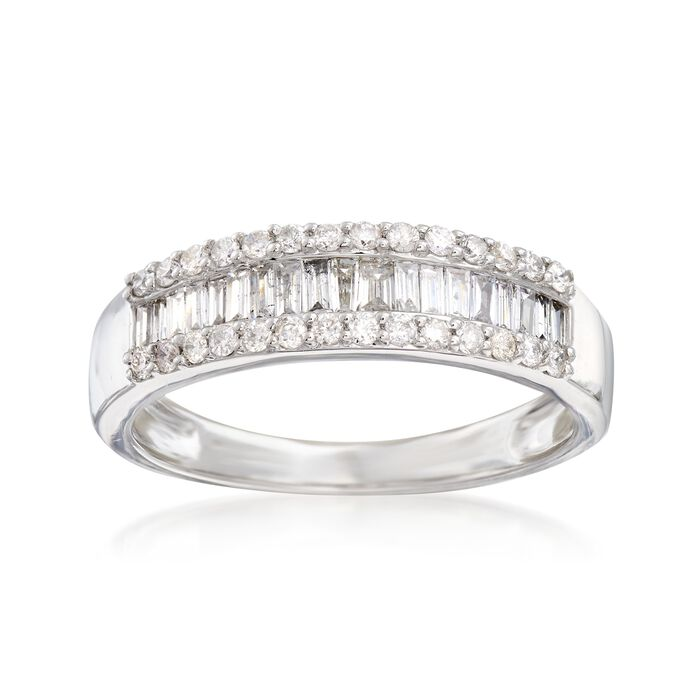 .50 ct. t.w. Round and Baguette Diamond Ring in 14kt White Gold