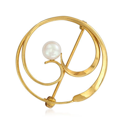 C. 1980 Vintage 5.5mm Cultured Pearl Swirl Circle Pin in 14kt Yellow Gold, , default