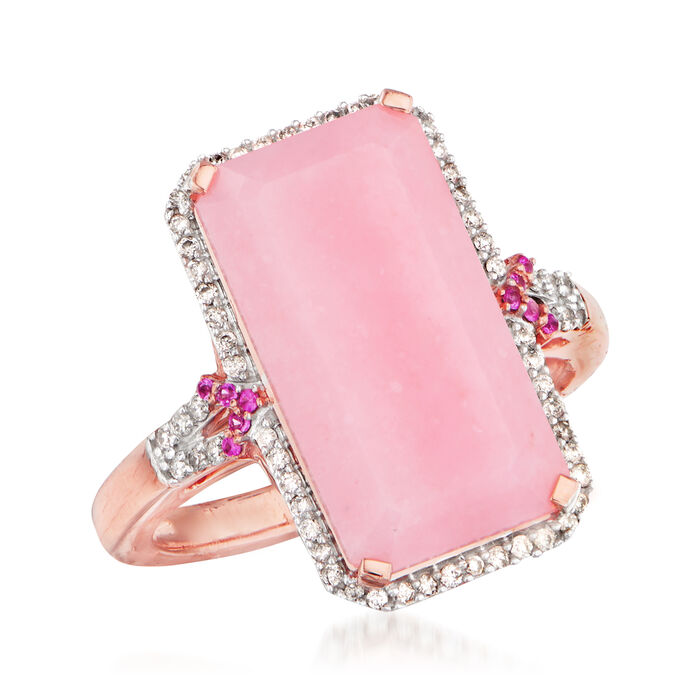 Pink Opal and .19 ct. t.w. Diamond Ring with Pink Sapphire Accents in 14kt Rose Gold