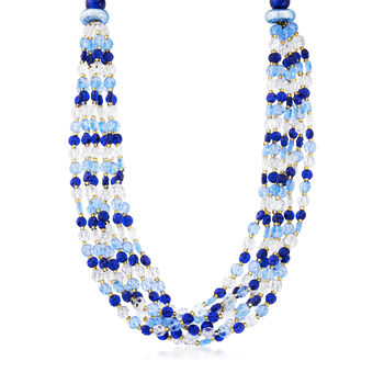 "Italian Multicolored Murano Bead Six-Strand Necklace in Sterling Silver. 18"", , default"
