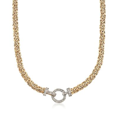 14kt Yellow Gold Byzantine Necklace With Diamond Clasp, , default