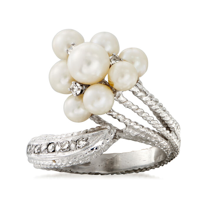 C. 1970 Vintage 4-6mm Cultured Pearl and .20 ct. t.w. Diamond Cluster Bypass Ring in 14kt White Gold