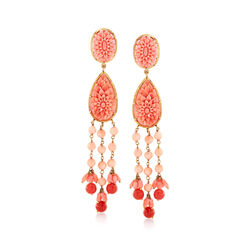 C. 1970 Vintage Coral Chandelier Drop Earrings in 18kt Yellow Gold, , default