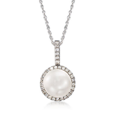 9mm Cultured Pearl and .22 ct. t.w. Diamond Pendant Necklace in 14kt White Gold, , default