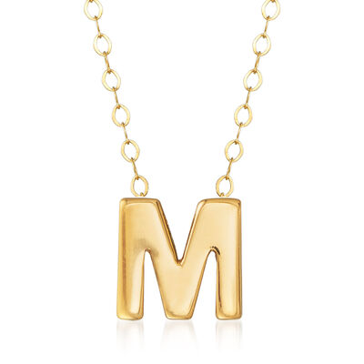 """14kt Yellow Gold Uppercase """"M"""" Initial Necklace, , default"""