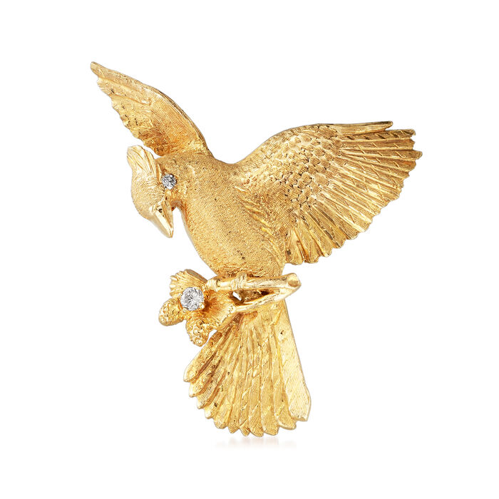 C. 1980 Vintage .15 ct. t.w. Diamond Eagle Pin in 10kt Yellow Gold