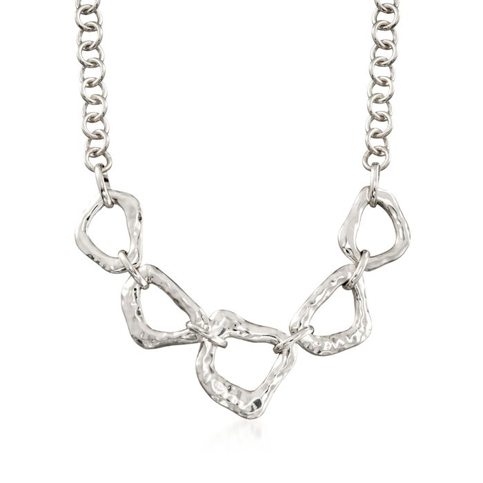 """Zina Sterling Silver """"Touchstone"""" Reversible Geometric Link Necklace. 17"""", , default"""