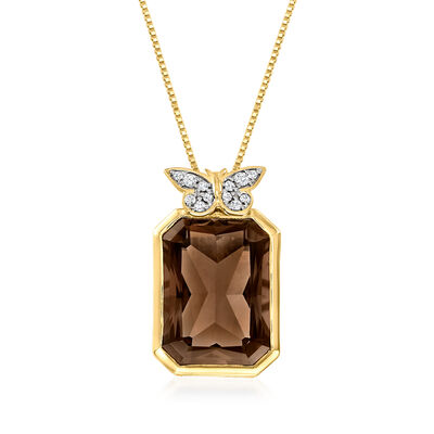 10.00 Carat Smoky Quartz Pendant Necklace with .10 ct. t.w. White Topaz Butterfly in 18kt Gold Over Sterling