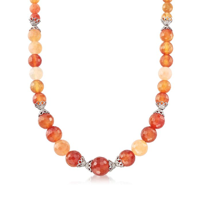 Multicolored Chalcedony Bead Necklace with Sterling Silver, , default