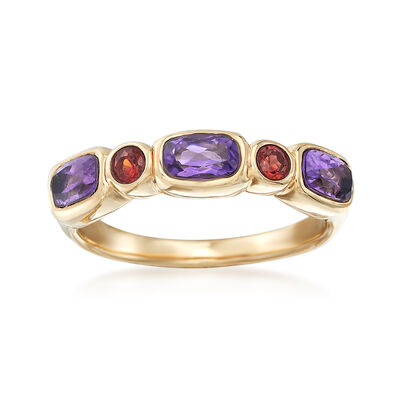 .60 ct. t.w. Amethyst and .20 ct. t.w. Garnet Ring in 14kt Yellow Gold, , default